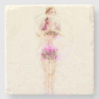 Abstract Yoga Concept Background Illustration Stone Coaster