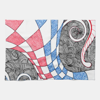 Abstract Zen Doodle Checkered Tube Red, White Blue Hand Towel
