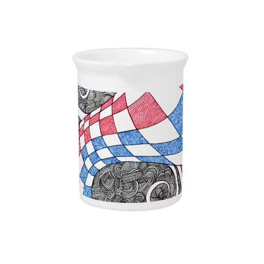 Abstract Zen Doodle Chequered Tube Red, White Blue Pitcher