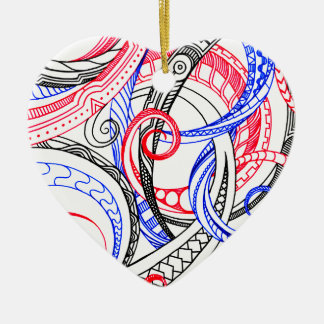 Abstract Zen Doodle Red White Blue Curls & Swirls Ceramic Heart Ornament
