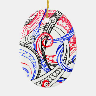 Abstract Zen Doodle Red White Blue Curls & Swirls Ceramic Oval Ornament