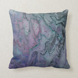 Abstract Zen Marbled Purple Teal and Black Throw Pillow