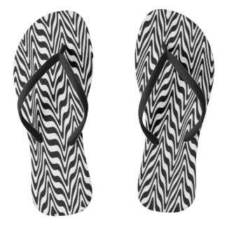 Abstract Zigzag Swirls Flip Flops