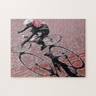 Abstracted Bicycle Rider and Shadow Puzzle. Jigsaw Puzzle