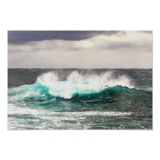 Abstracted Big Ocean Wave Rolls In to Shore Poster
