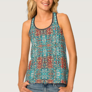 abstracted design tiled fractal tank top