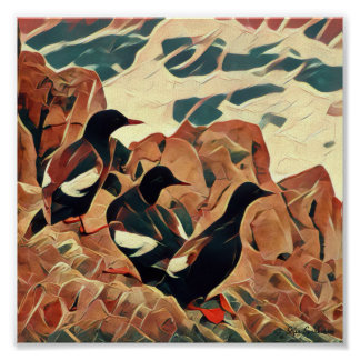 Abstracted Guillemots 7x7 Canvas Poster Print