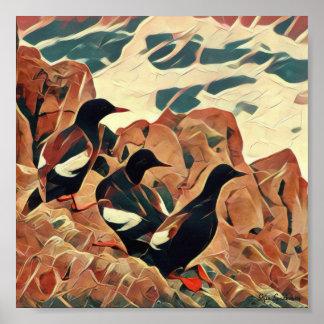 Abstracted Guillemots 7x7 Semi-Gloss Poster Print