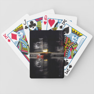 abstracted photograph, boats bicycle playing cards