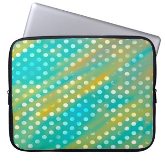 Abstraction Art Blue  And Brown White Polka Dots Computer Sleeve