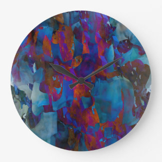 Abstraction Art Blue Cystal Grid Effect Large Clock