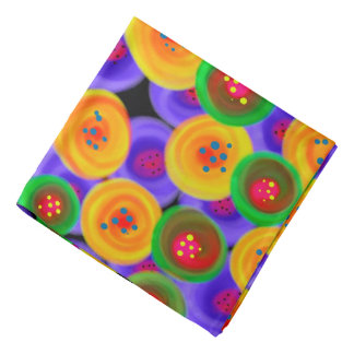 Abstraction Art Bright Yello Green And Blue Circle Bandana
