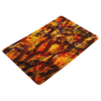 Abstraction Art Brown And Black Feathers Floor Mat