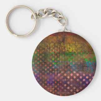 Abstraction Art Colored Grunge Brown Polka Dots Keychain