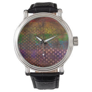 Abstraction Art Colored Grunge Brown Polka Dots Watch