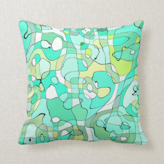 Abstraction Art Contours Green, Yellow And White Throw Pillow