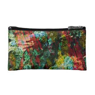 Abstraction Art Green And Red Texture Cosmetic Bag