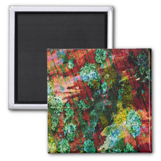Abstraction Art Green And Red Texture Magnet