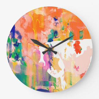 Abstraction Cow Watercolor Silhouette Large Clock