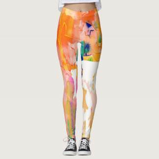 Abstraction Cow Watercolor Silhouette Leggings