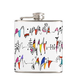 Abstraction from undulating lines hip flask