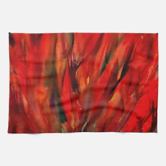 Abstraction Red Flame Art Kitchen Towel