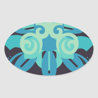 Abstraction Two Poseidon Oval Sticker