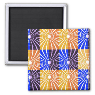Abstractly Art Blue And Brown Grid Square Magnet