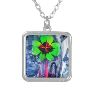 Abstractly in perfection luck silver plated necklace