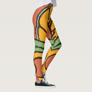 Abstracts Shapes Stain Glass style, Leggings
