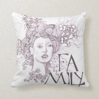 Abstrat image of a lady with the title Family Throw Pillow