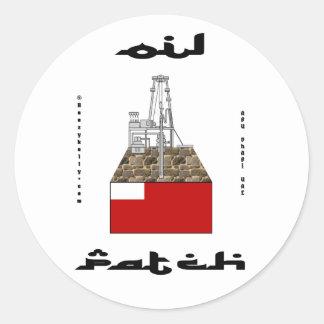 Abu Dhabi Oil Patch Sticker,UAE,Oil,Gas,Oil Rigs Round Sticker