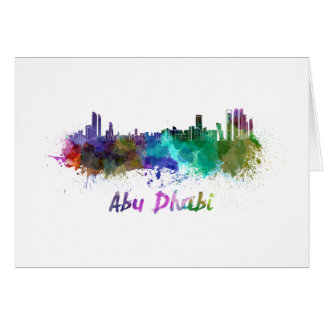 Abu Dhabi skyline in watercolor Card