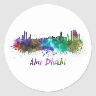 Abu Dhabi skyline in watercolor Classic Round Sticker