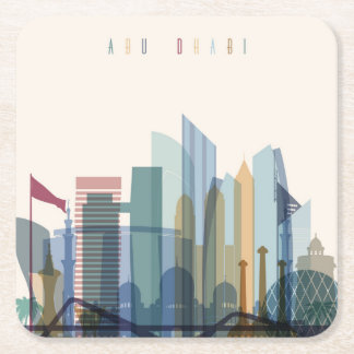 Abu Dhabi, United Arab Emirates | City Skyline Square Paper Coaster