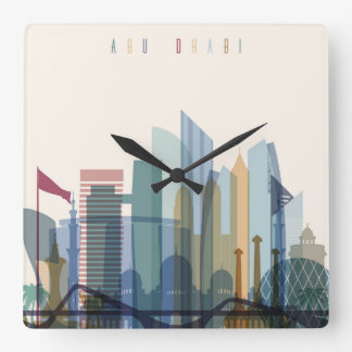 Abu Dhabi, United Arab Emirates   City Skyline Square Wall Clock