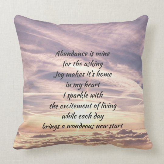 Abundance affirmation poem throw pillow