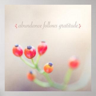 "Abundance Follows Gratitude 24"" x 24"" Poster"