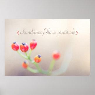 Abundance Follows Gratitude Poster