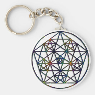 Abundance Sacred Geometry Fractal of Life Basic Round Button Keychain