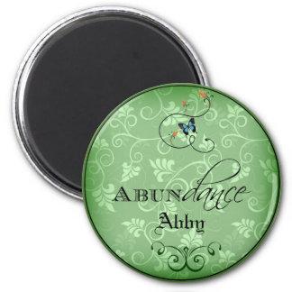 Abundance Swirly Green Leaf Blue Butterfly Magnet