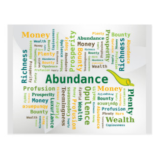 Abundance Word Cloud Green Yellow Colors Postcard