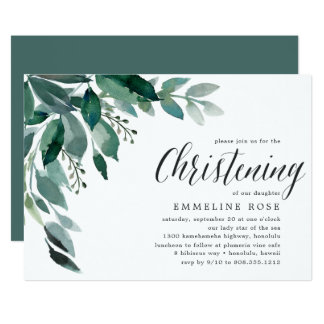 Abundant Foliage | Christening Invitation