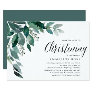 Abundant Foliage   Christening Invitation