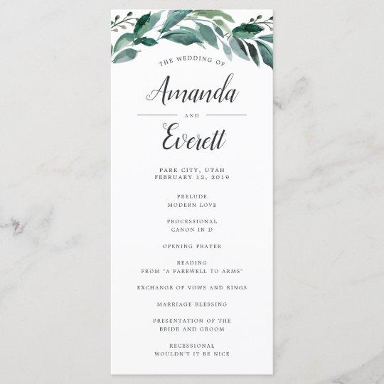 Wedding Ceremony Program.Abundant Foliage Wedding Ceremony Program