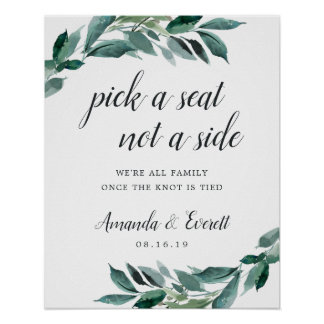Abundant Foliage Wedding Ceremony Seating Poster