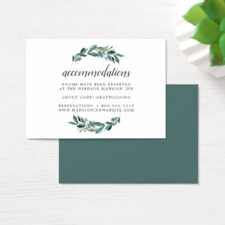 Abundant Foliage Wedding Hotel Accommodation Cards