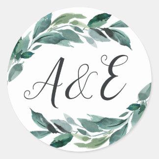 Abundant Foliage Wedding Monogram Classic Round Sticker
