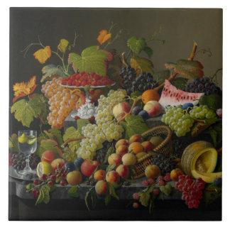 Abundant Fruit, 1858 (oil on canvas) Tile
