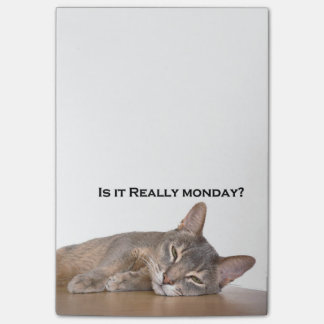 Abyssinian Brown Funny Cat Hates Monday Post-it Notes